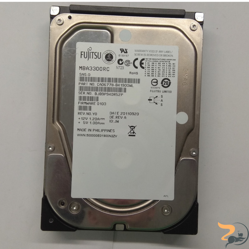 Жорсткий диск Fujitsu , Enterprise 300GB, 15000rpm, 16MB, P/N: MBA3300RC, роз'єм 3.5, SAS